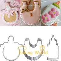 baby bottle cookie - Baby Bottle Nipple Scarf Stainless Steel Cookie Cutter Birthday Kids Cake Molds Metal Cupcake Sandwich Biscuit Decoration Tool