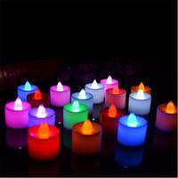 Wholesale 24pcs box Led Candle Shape Plastic light Colors Flickering Flameless Led Tea Light For Party Wedding Birthday Decoration