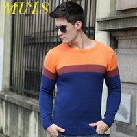 Pullover pullover men - Mens sweater brand Long sleeve pullover round collar vest jumper for men Computer Knitted stripe pattern fashion style colors pc