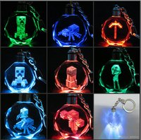 minecraft - 100pcs AAA Quality Minecraft Cartoon Anime Figure LED Crystal Keychain Key Chain Rings Hanging Pendant Gift Box Packing