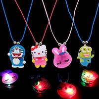 yiwu market - Children jewelry led toys luminous pendant necklace flash cartoon images hot summer night market toy