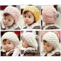 Cheap DHL free Baby hats Pom pom pink knit hat girls boys Crochet beanie winter toddler faux fur warm cap 5M-5years children's Christmas Gift