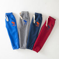 Wholesale Hot selling Eur american new brand winter pants for kids boys girls cotton thicken pants children s fleece embroidery deer pants