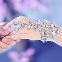 Wholesale 2015 elegant wedding Bridal Jewelry Crystal Rhinestone Finger Ring Bracelet wristband Bracelet CPA319