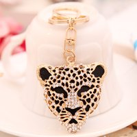 metal leopard - Metal keychain leopard head diamond exquisite Korean couple lover creative keychain car key fob
