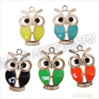acrylic pendants jewelry making - Fashion Jewelry Charms New Charms Enamel Colorful Owl Animal Plated Golden Alloy Pendants Fit Jewelry Making x21 x3mm