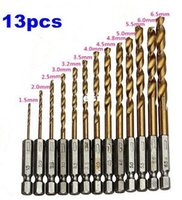 Wholesale 13 HSS High Speed Steel Titanium Coated Drill Bit Set Hex Shank mm