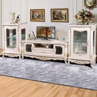 Wholesale The latest explosion models European French TV cabinet TV cabinet luxurious living room furniture factory direct