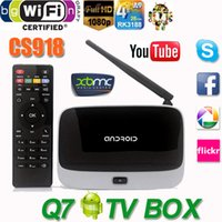 Wholesale 2015 Android TV Box Q7 CS918 Full HD P RK3188T Quad Core Media Player GB GB XBMC Wifi Antenna with Remote Control