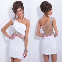 Cheap 2015 Hot Sale White Cocktail Dresses Sexy Cheap One Shoulder Asymmetrical Neckline Sheer Beaded Crystals Satin Mini Short Prom Party Gowns