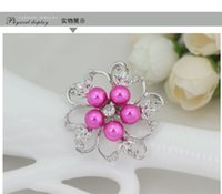 balls camellias - Jewelry Corsa Wedding Bouquet Brooch Silver Rhinestone Flowers Brooches Classic Hollow Diamond Camellia Brooch Scarf Buckle Pearl brooch