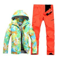 Wholesale New gsou snow brand fashion colorful camouflage winter warm hood waterproof ski jacket men outdoor sports skiing snowboard suit