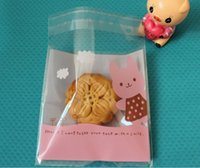 bakery bread - 300pcs Pink Rabbit and Yellow Bear Design baking cookies bags bakery packaging self adhesive OPP Plastic bread bags X10cm