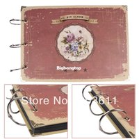 Wholesale 1509 Pages Vintage Red Retro DIY Greeting Travel Photo Album Diary