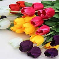 Cheap Wholesale 34cm 6 Color Simulation Flower Silk Tulips Real Touch Wedding Artificial Tulip Bouquet Home Decoration