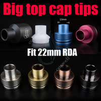 big wholesale - Big top cap Drip tips enuff chuff POM aluminum stainless Dripper Mutation x Vulcan Stillare Atty plume veil doge dark hose tugboat RDTA