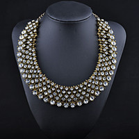 Wholesale Luxury Crystal Bib Statement Necklace Collar Necklaces Rhinestone Chunky Chain Brand Chokers Jewelry NXL114