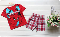 Cheap 120pcs 2015 Hot sale 100% Cotton baby kids pajamas Spiderman superman Micky Summer kids suits Outfits Cartoon kids pajamas sets