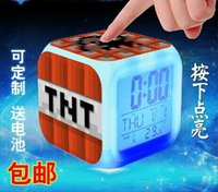 Wholesale Minecraft Design alarm clock Minecraft Creeper clock LED Color Change Digital Alarm Clock Night Colorful Changing