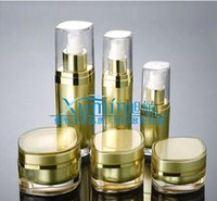 lotion containers - factory FV ml gold Acrylic eye shape flat press pump lotion bottle Cosmetic Packaging cosmetic container