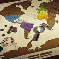 Wholesale Top quality Scratch OFF MAP Travel Scratch Map x52 cm World Map without Retail packaging