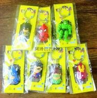 batman keychain - The Avengers Keychain Iron Man Thor Batman Spiderman Captain America Joker PVC Toys PVC Pendants Cartoon Key chains