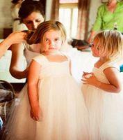 Cheap 2014 White Wedding Flower Girl's Dresses Straps Bow Cheap Floor Length Pageant Dress for Girl Children ball Gowns for Little Girls Custom