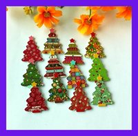 decorative buttons - New goods Randomly holes Mixed Patterns MM wooden Christmas tree buttons Flatback sewing supplies for Decorative