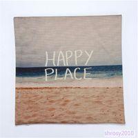 beach throw pillows - Hot Vintage Fashion Happy Place Beach Design Cotton Linen Throw Pillow Case BYA0115