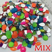 beauty cabochons - No Holes bag Mixed colors Sizes shapes Acrylic Resin Flatback Acrylic Flatback Cabochons rhinestone for DIY beauty