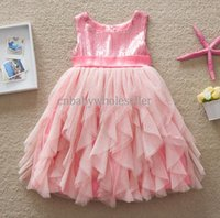 Wholesale Girl Dress Wedding Princess Summer Girls Pink Sequined TUTU Bow Silk Ribbon Baby Party Dresses Kid Summer Clohtes GD50308