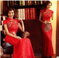 Wholesale 2015 Fashion Lace Golden Phoenix red Fish Tail Cheongsam Evening Dress Long Autumn spring