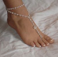 Cheap Fashion Barefoot Sandal Anklet Toe Ring Foot Jewelry Barefoot Sandal Double Pearl Ankle Bracelet Beach Wedding Jewelry Foot Jewelry