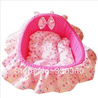 Wholesale NEW Luxury Princess Dog Beds Kennel Pet Sweet Pink Sofa House With Pillow Mat for Puppy Cat Pet Product