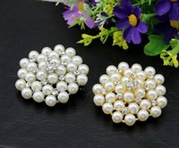 Wholesale Fashion pearl alloy brooch flower rhinestone brooch bridal jewelry birthday gift for girl gold silver colors