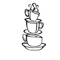 Cheap Removable Coffee House Cup Vinyl Wall Art Metal Mug Wall Sticker Decals DIY Kitchen Decor S57951