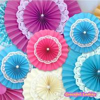 decorative fans - 8Inch Inch Wedding Tissue Paper Fan Pinwheel Backdrop Decor Multi Color DIY Paper Rosettes Foldable Paper Fan Candy Buffet Decorations