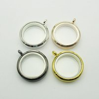 Wholesale 30mm Round magnetic glass floating charm locket Zinc Alloy chains included for free
