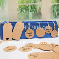 Wholesale Rectangle and Circle Shape Design Brown Kraft Paper Hang Tags Wedding Party Favor Punch Label Price Gift Cards