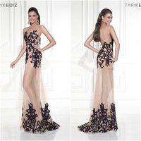 Wholesale 2015 Tarik Ediz Illusion Neckline Sleeveless Low Cut Sexy Nude Long Mermaid Prom Dresses With Black Embroidery