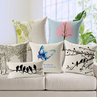 Wholesale Fancy Cushion Cover Modern Minimalist Blue Butterfly Pink Tree Cushion Pillow Cover Home Decoration Sofa Green Leaf Pillow Case Linen
