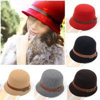 Wholesale New Fashion Vintage Autumn Winter Adult Women Fedora Hat Dome Hat England Vintage Bowler Caps Multicolor Ladies Headwear Bucket Hat