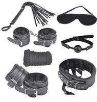 leather bondage harness - 7PCS Set BDSM Handcuffs Bondage Sex Toys Bondage Harness PU LEATHER Whips Handcuffs Nipple Clamps Collar Rope Blindfold