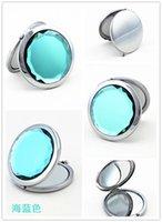 Wholesale Crystal Compact Mirror Portable Mirror Metal Miror many color70 mm blue Crystal02