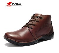 work boots for men - Boots For Men Zousuo England Style Winter Fashion Men High Top Shoes Mens Genuine Leather Lace Up Velvet Warm Work Boots Casual Safety Shoes
