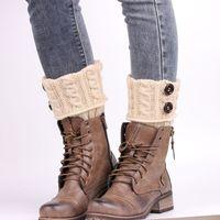 Wholesale Winter Warm Women Knitted Socks button Knee Long Leg Warmers Woman Wool Boot Cuff Socks Knit Leg Warmers Womens Polainas