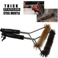 Wholesale 12 quot Good Quality Stainless Steel BBQ Grill Brush Heavy Duty Barbecue Grill Cleaning Brush with Safe Handle