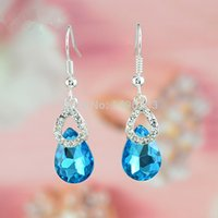 Wholesale Hot Gift Silver Plated Clear Crystal Cluster Water Drop Blue Gem Teardrop Dangle Earrings Fashion Jewelry Best Gift for women