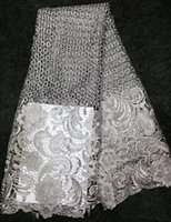 fabric for wedding dress lace - High quality polyester Guipure Cord lace Swiss Voile rayol Gray mesh French African Lace Fabric new women lace for sewing wedding dress