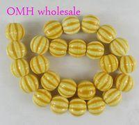 Wholesale OMH mm DIY Jewelry Accessories fit Bracelets watermelon stripes Craft round ceramic space Beads PJ396